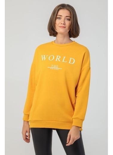 Modaset Yazı Baskılı Oversize Sweatshirt Hardal Sarı